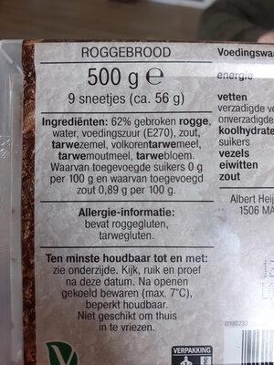 Fries roggebrood - Ingrédients - nl