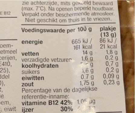 Vegan grillworst - Voedingswaarden - fr