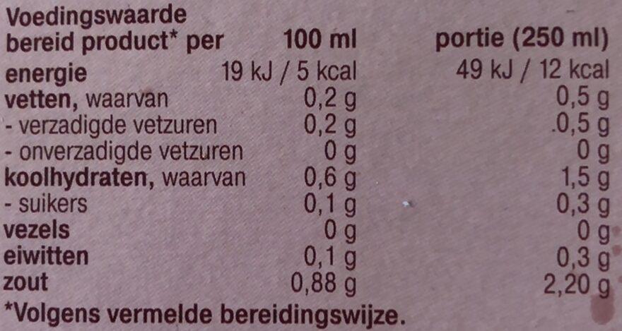 Boillon Rund - Voedingswaarden - nl