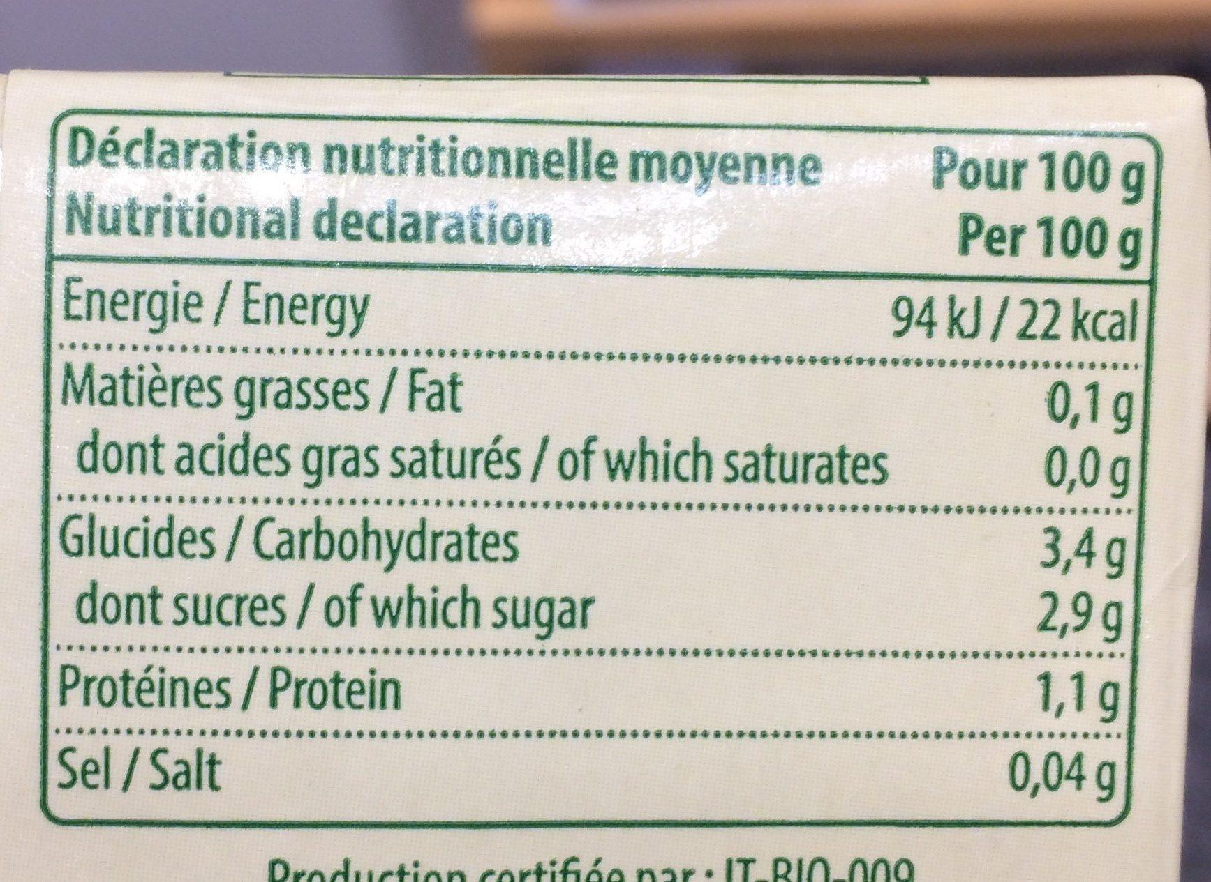 Passata nature - Informations nutritionnelles - fr