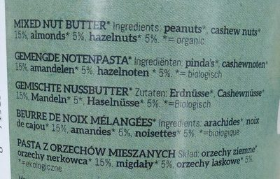 Beurre de noix mélangées - Ingrediënten - fr