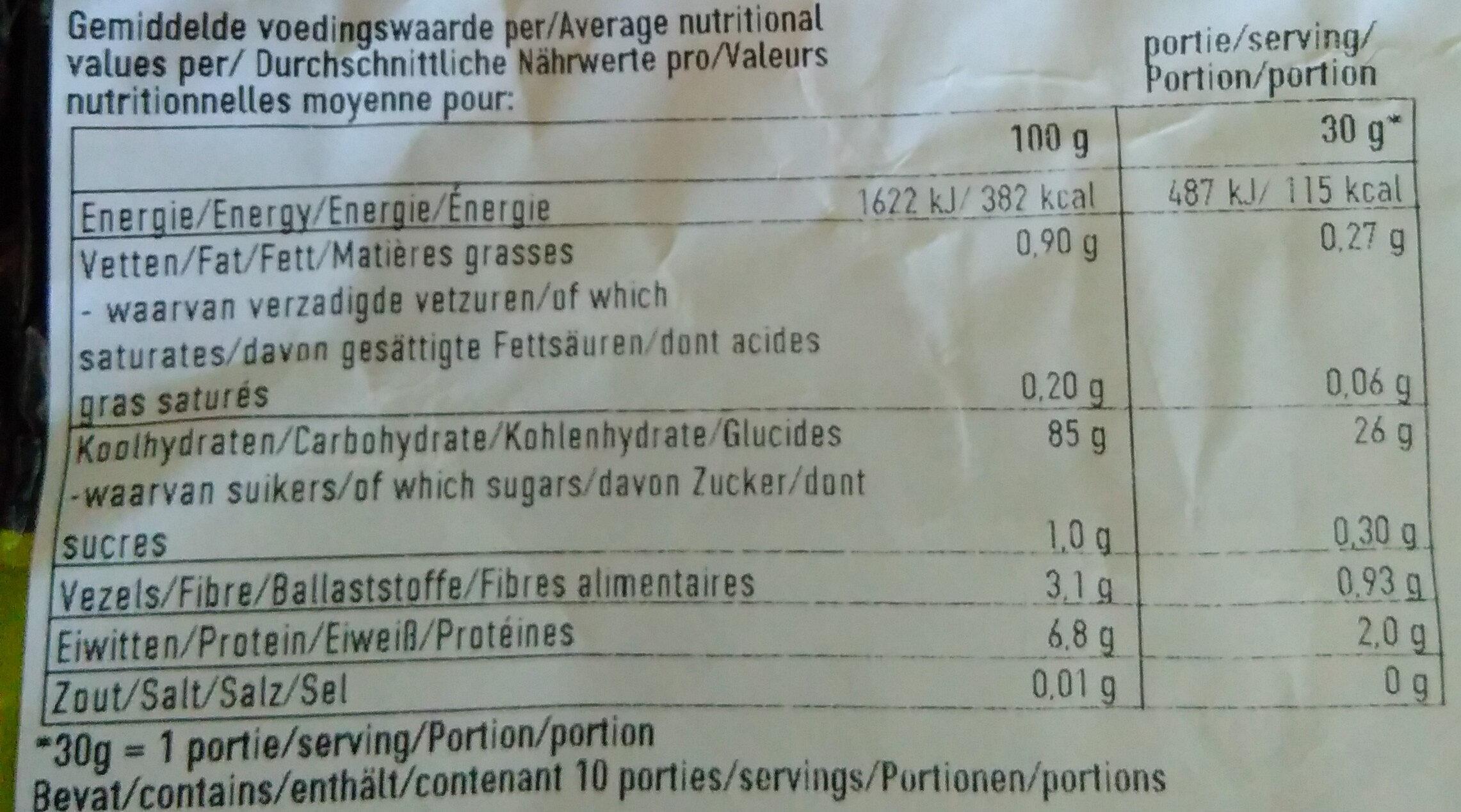 Cornflakes - Voedingswaarden