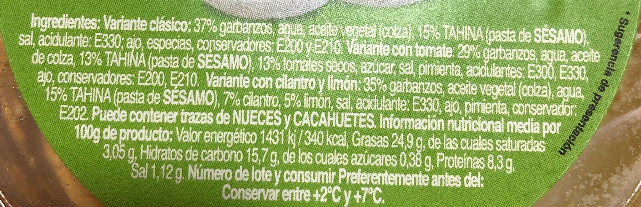Trio hummus - Información nutricional - es