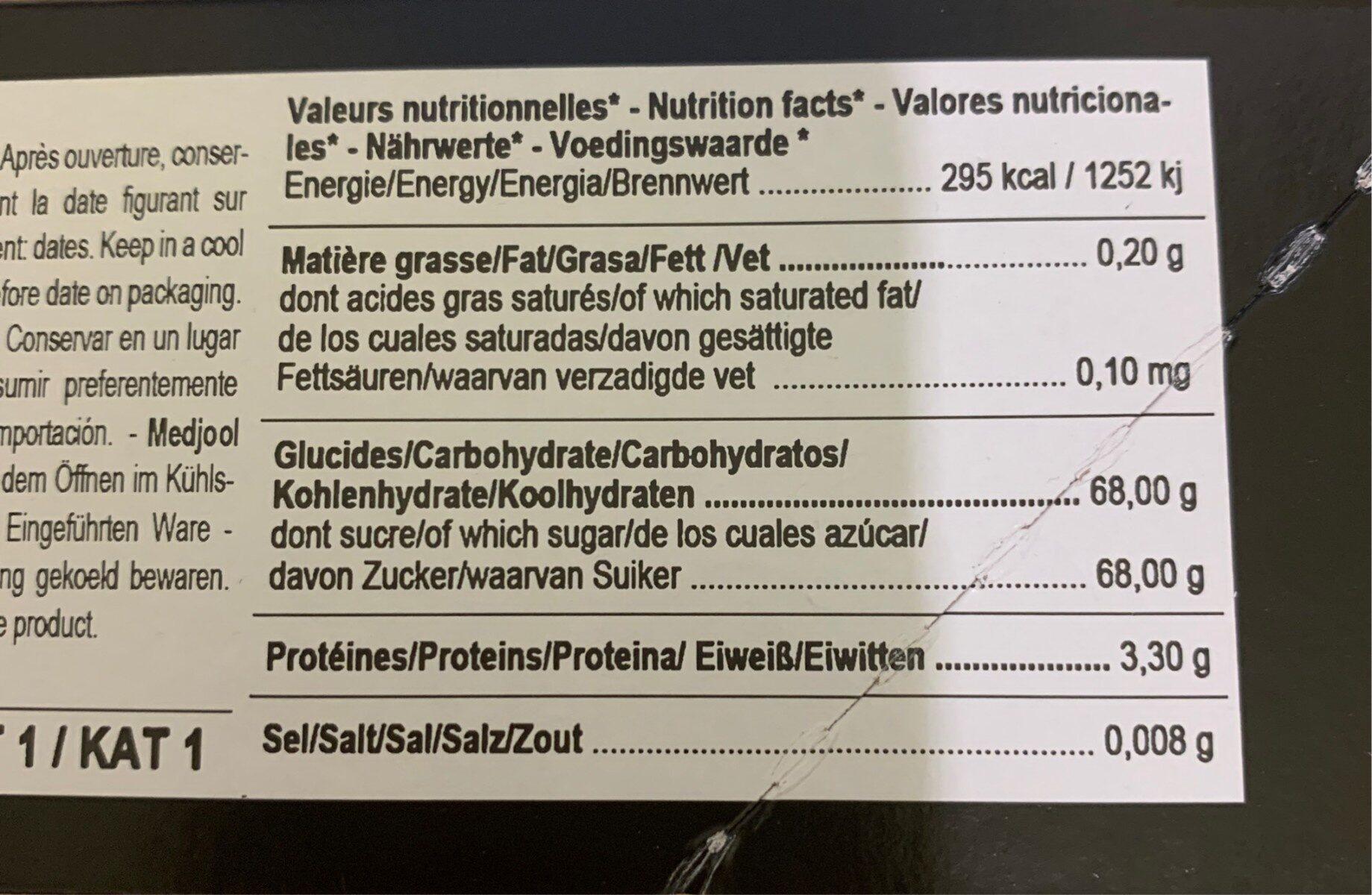 Medjool plus - Nutrition facts