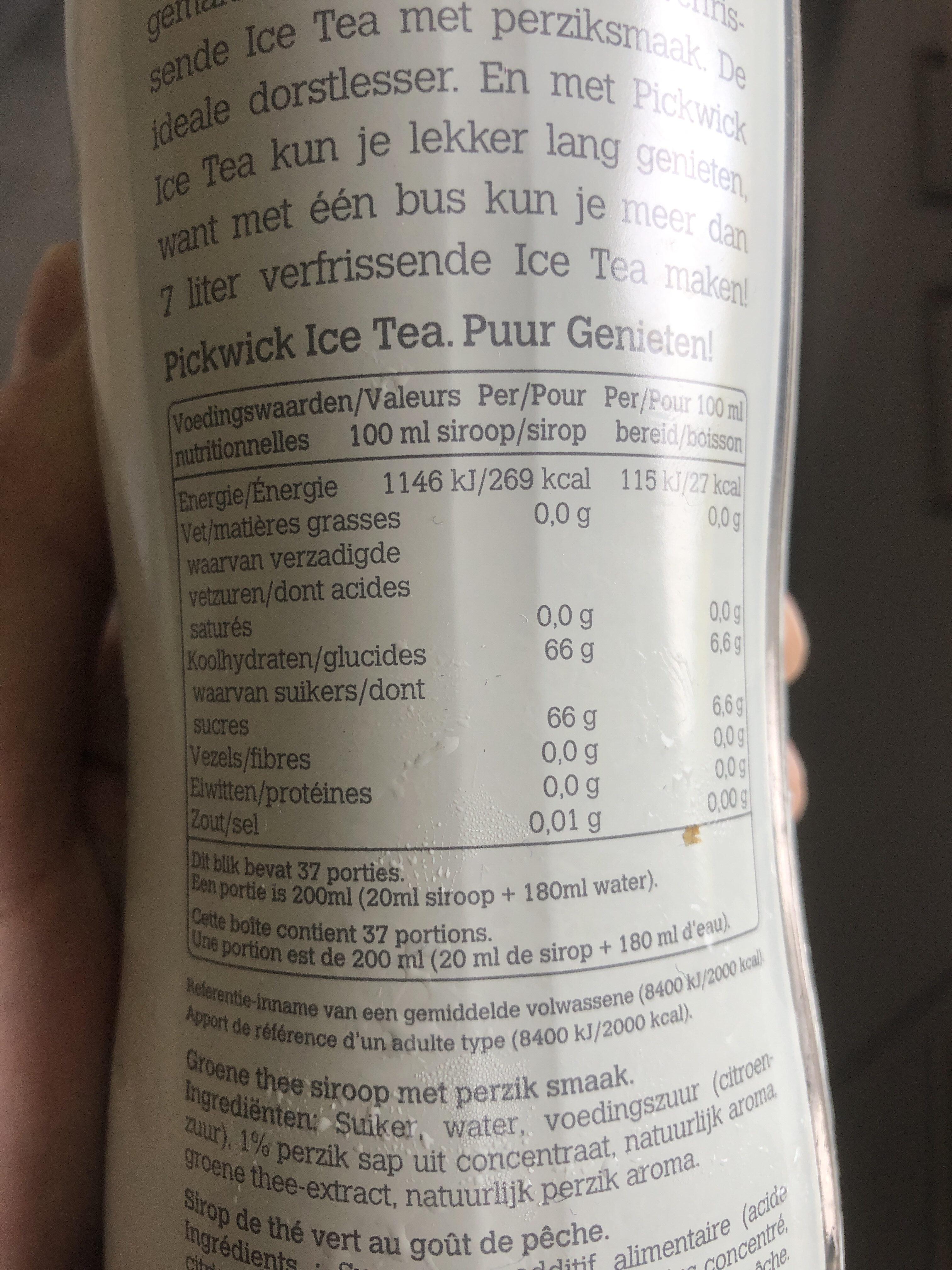 Pickwick Green Tea Peach - Informations nutritionnelles