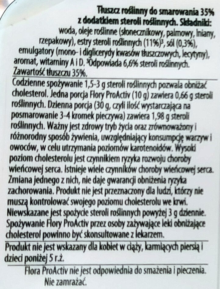 Tłuszcz roślinny do smarowania 35% z dodatkiem steroli roslinnych. - Składniki - pl