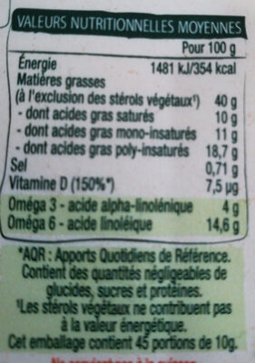 ProActiv Margarine Tartine Sans Huile de Palme 450g - Nutrition facts