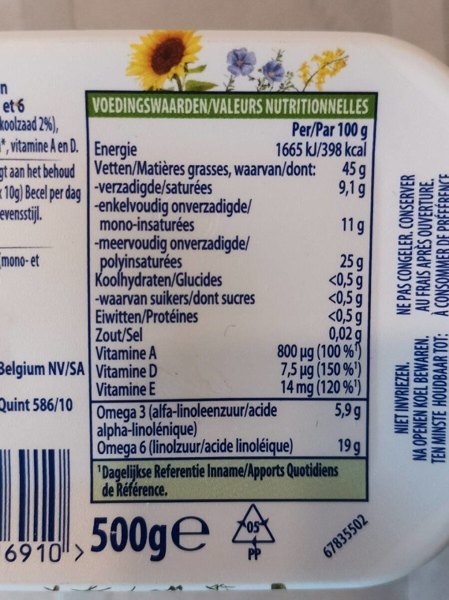 Becel Original - Informations nutritionnelles