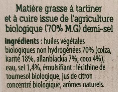 Margarine demi-sel sans huile de palme - Ingredienti