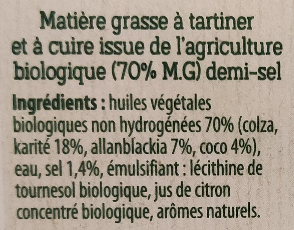 Margarine demi-sel sans huile de palme - Ingredienti - fr