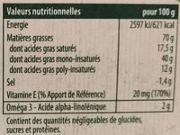 Margarine demi-sel sans huile de palme - Valori nutrizionali - fr