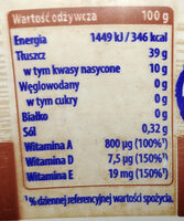 Margaryna półtłusta o smaku masła. - Nutrition facts
