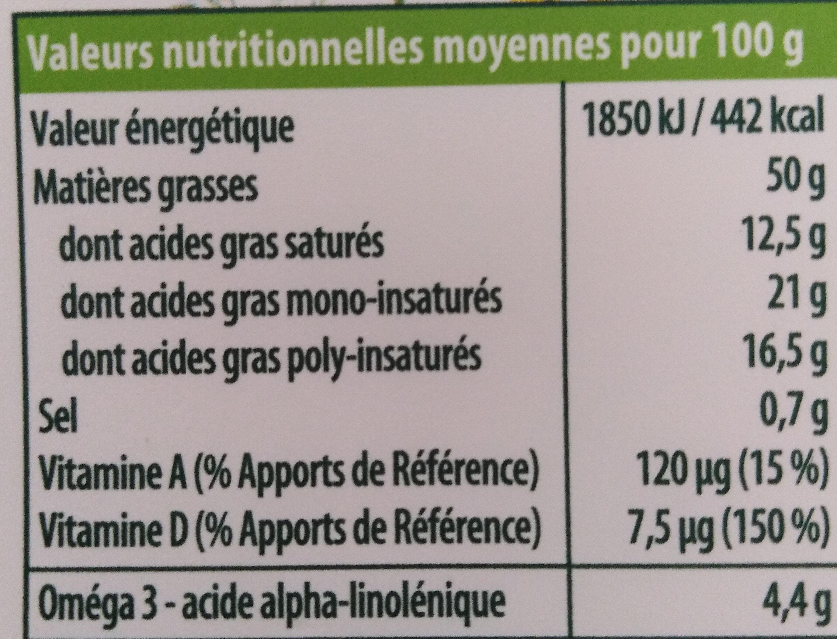 Fruit d'or omega 3 sans huile de palme - Nutrition facts - fr