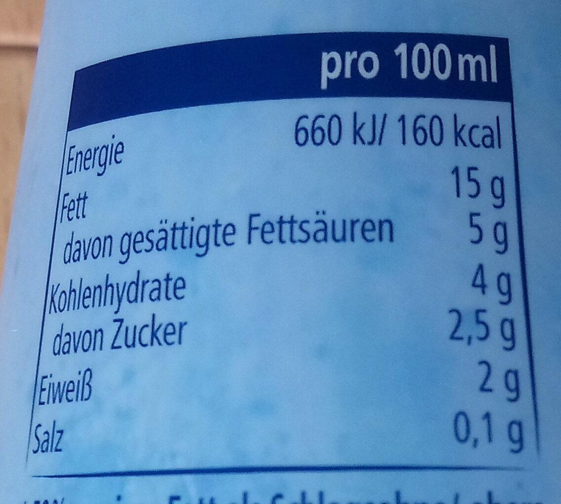 Cremefine 15  mopro - Informations nutritionnelles - de