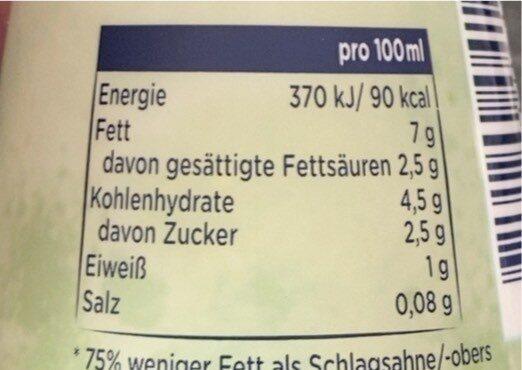 Cremefine zum Kochen 7% Fett - Informazioni nutrizionali - de