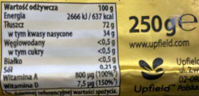 Tłuszcz roślinny 72% do wypieków i kremów, gotowania i smażenia - Wartości odżywcze - pl