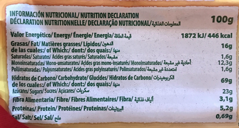 Galletas fruta y fibra - Voedingswaarden - es