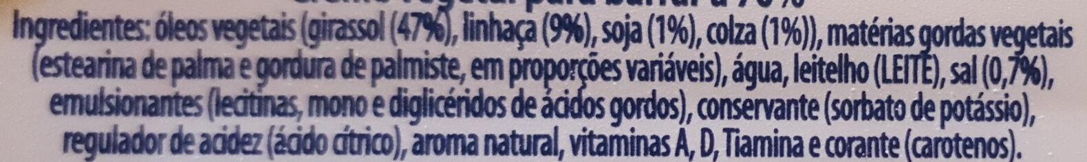 Creme vegetal - Ingredientes - pt