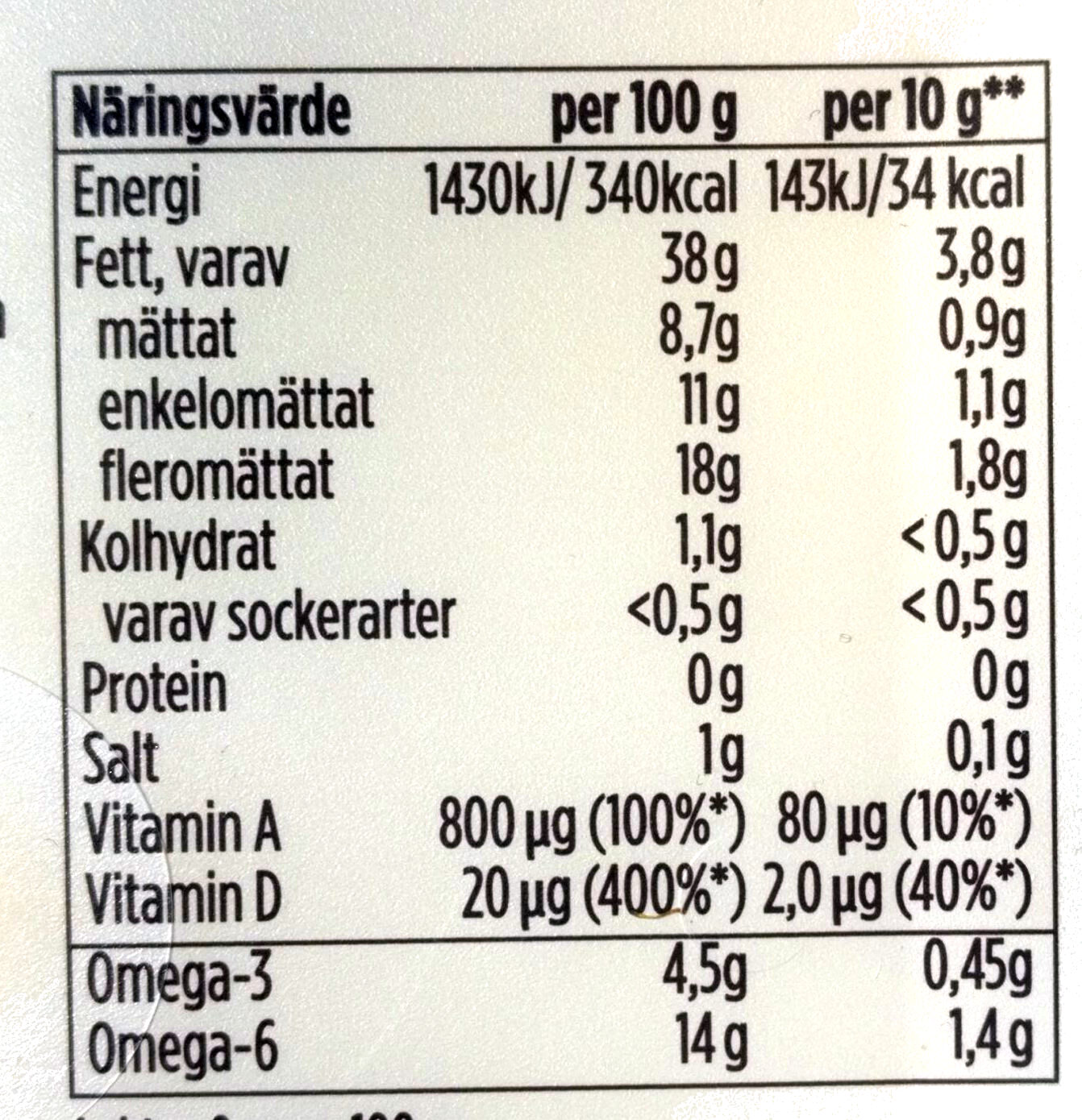 Lätt Omega 3 - Voedingswaarden - sv