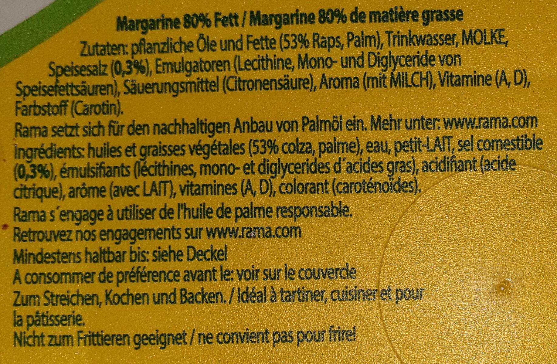 Rama universelle - Ingrediënten - fr