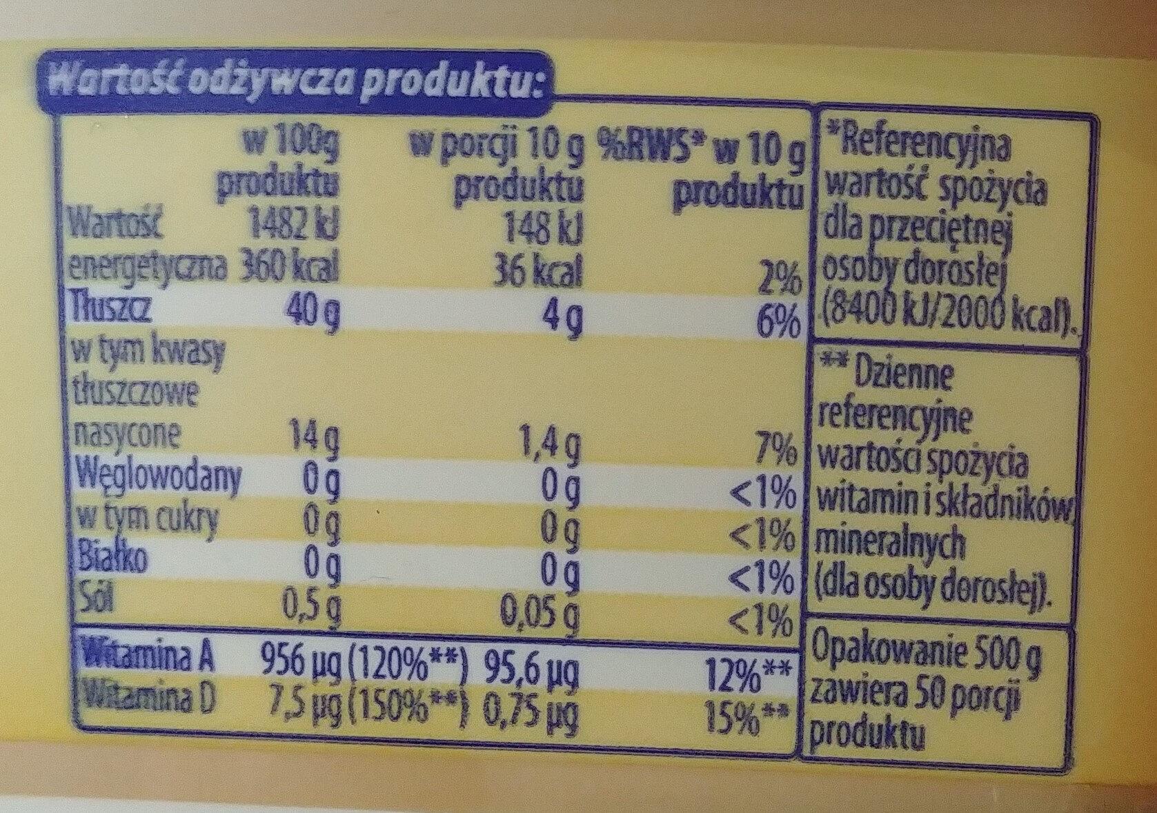 Margaryna półtłusta 40%. Do smarowania. - Wartości odżywcze - pl