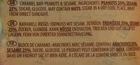 barre caramel - Ingrédients - fr