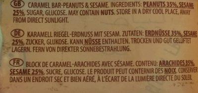 Barre de sesame au caramel - Ingrédients - fr