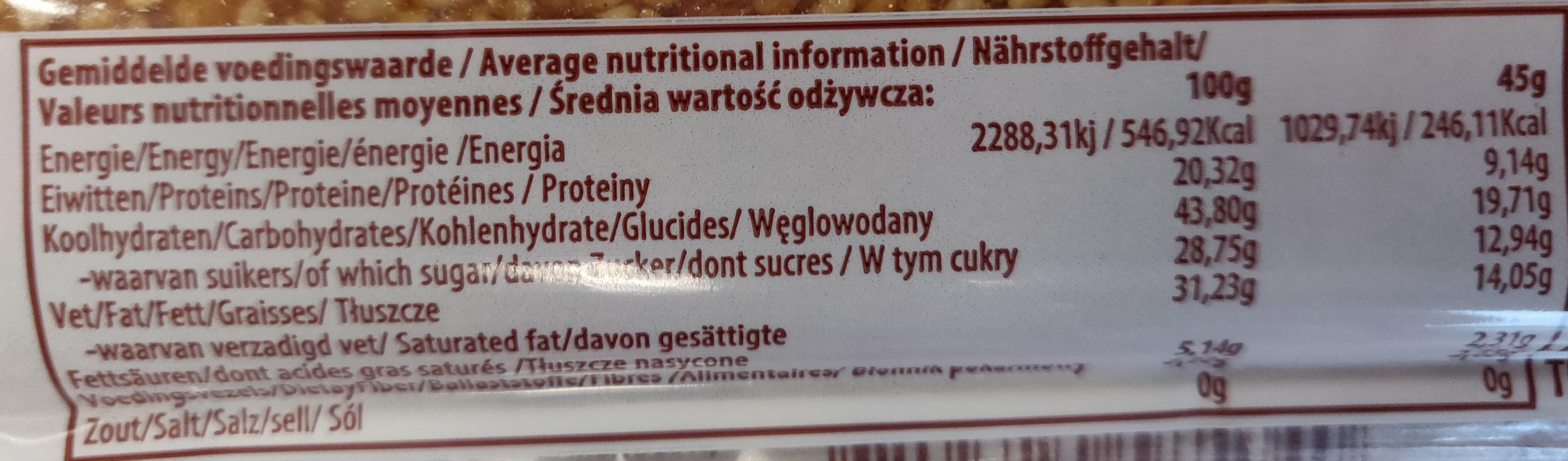 Barre de sesame au caramel - Informations nutritionnelles - fr