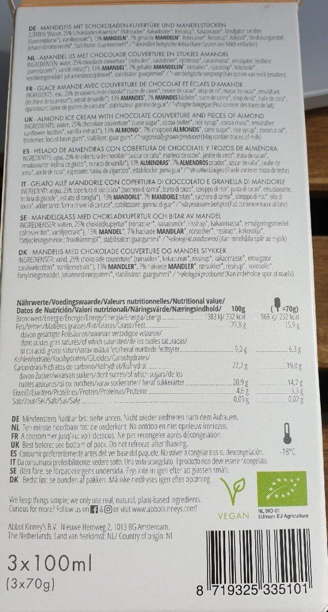 Glace au chocolat et amandes - Nutrition facts - en