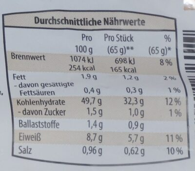 Kaiserbrötchen zum Fertigbacken - Voedingswaarden - de