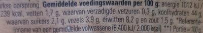 Turks Mini Brood (2×100g) - Voedingswaarden - nl