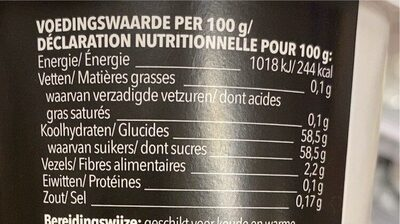 Fourrage framboose - Nutrition facts