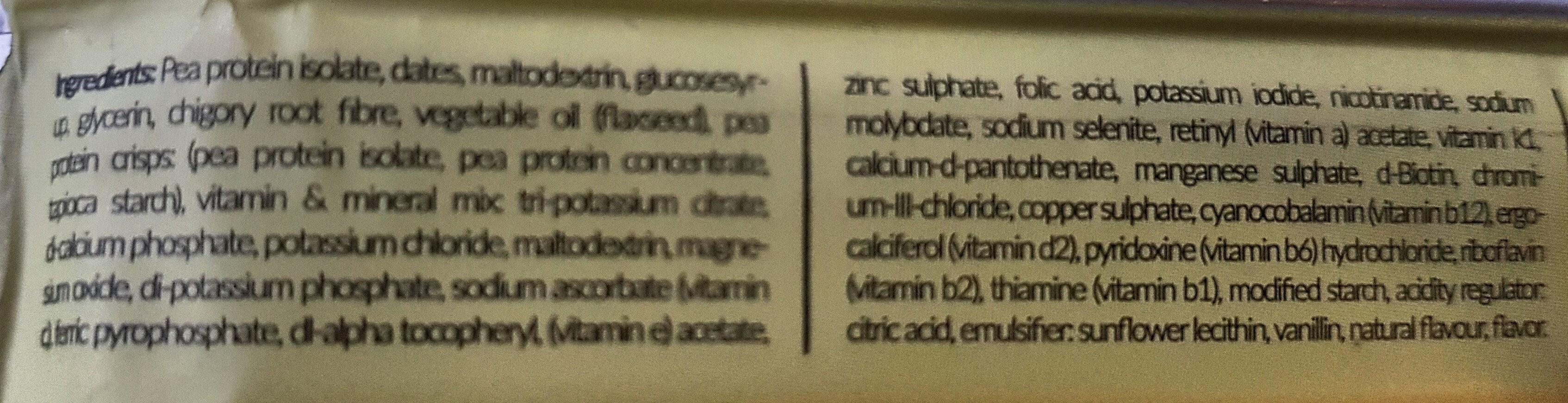 Vitaminbar Vanilla - Zutaten - en