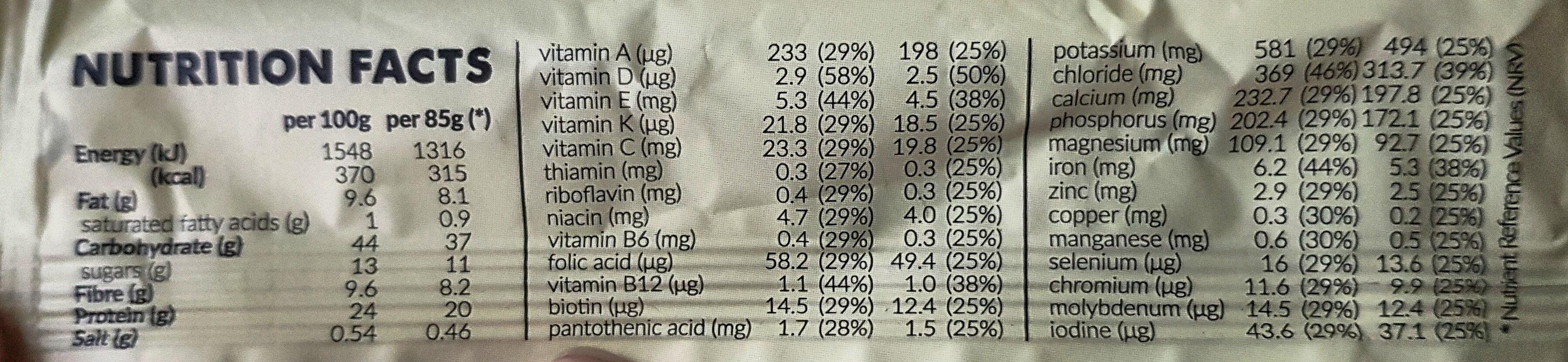 Vitaminbar Vanilla - Nährwertangaben - en