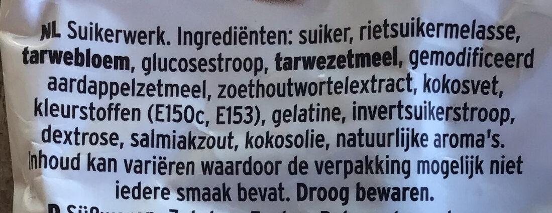 Dropstaafjes mix - Ingrediënten - nl