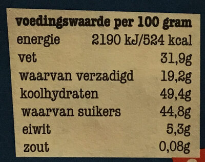 Puur 51% pepernoot - Nutrition facts - nl