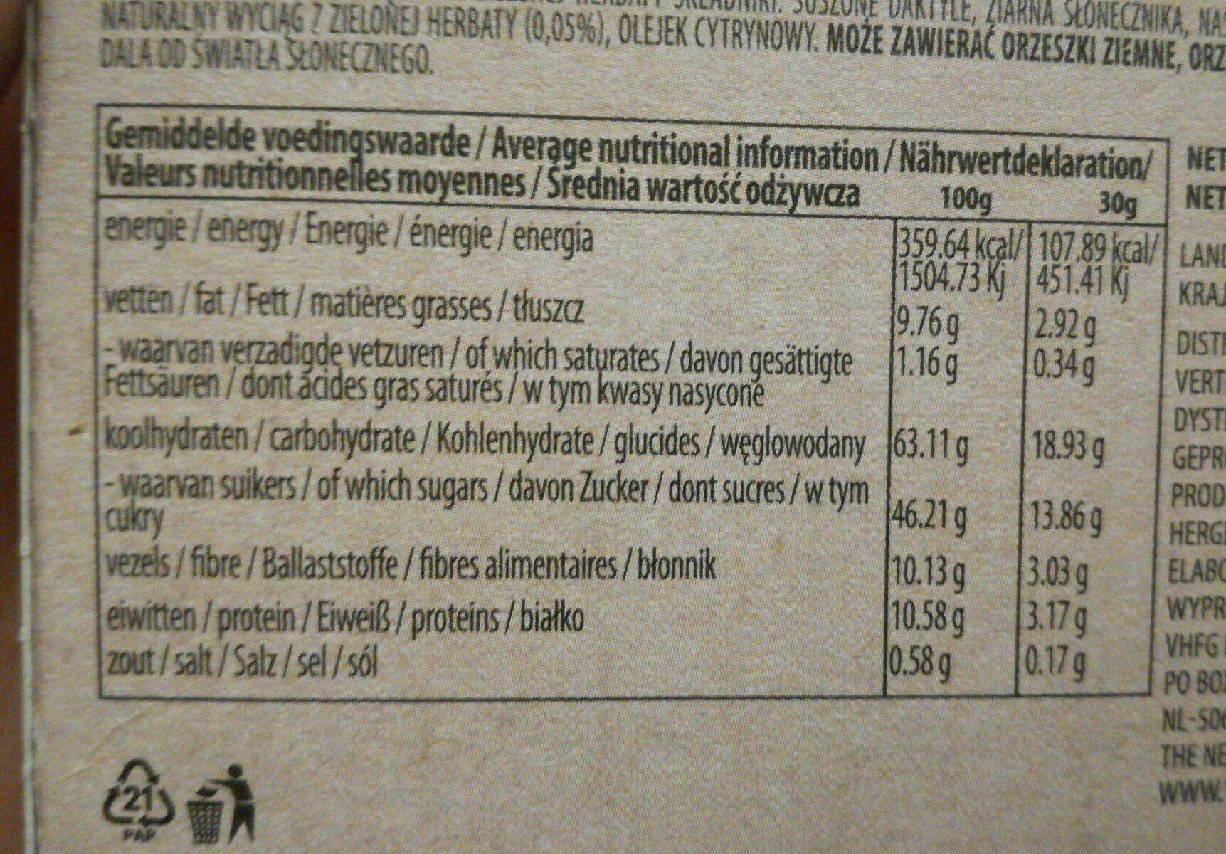 Raw bar - Informations nutritionnelles - fr