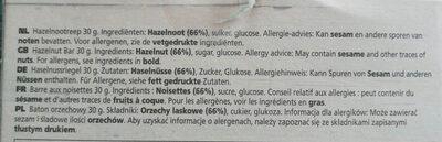 NUTBAR Hazelnut - Ingrédients - fr