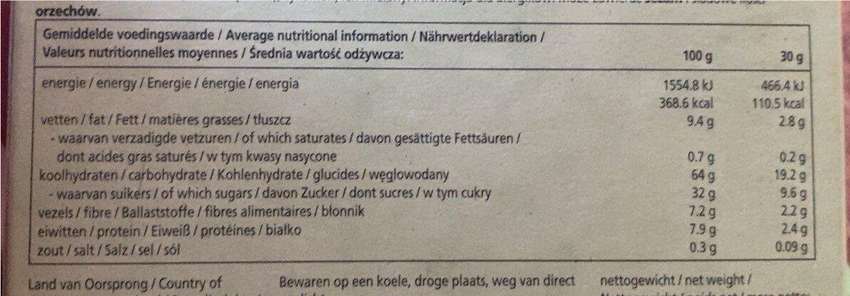 Fruit&Nut Bar - Voedingswaarden - fr