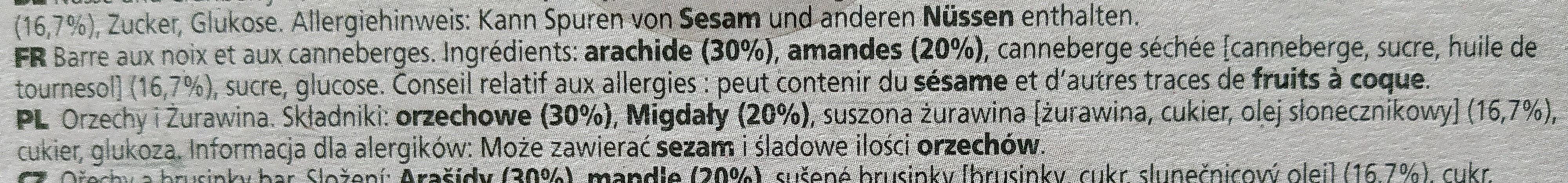 Nutbar - Ingrédients - fr