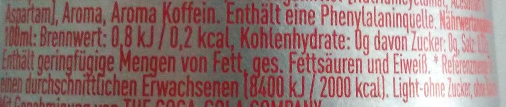 Coca-Cola light - Informations nutritionnelles