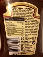 Sauce Barbecue - Informations nutritionnelles