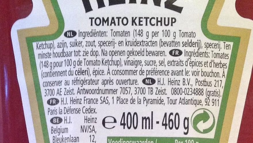 Heinz Tomato ketchup - Ingrediënten
