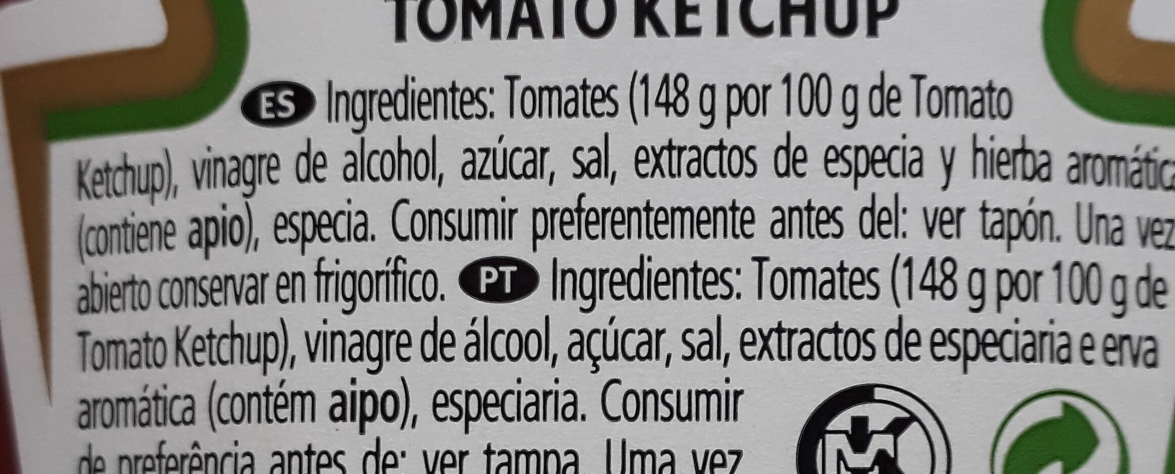 Tomato ketchup - Ingredientes - es