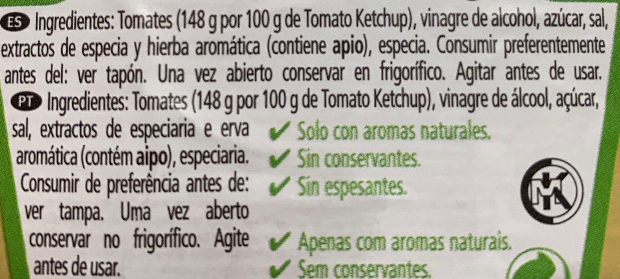 Ketchup - Ingredientes - es