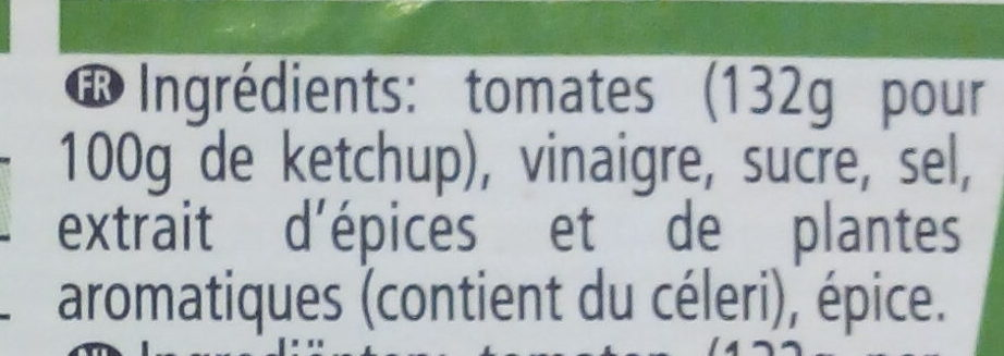 Ketchup - Ingredients - fr