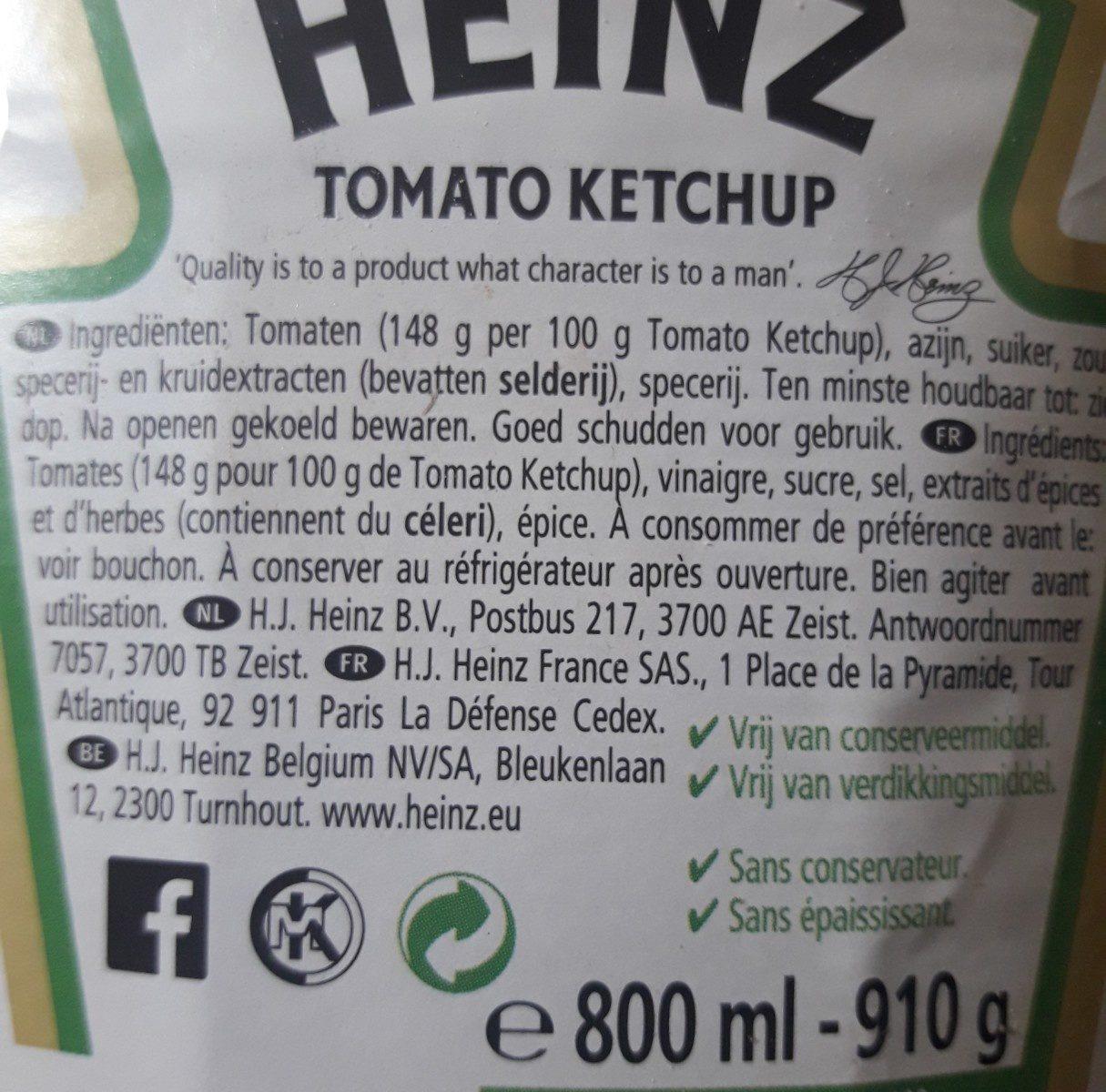 Ketchup Heinz - Ingrediënten