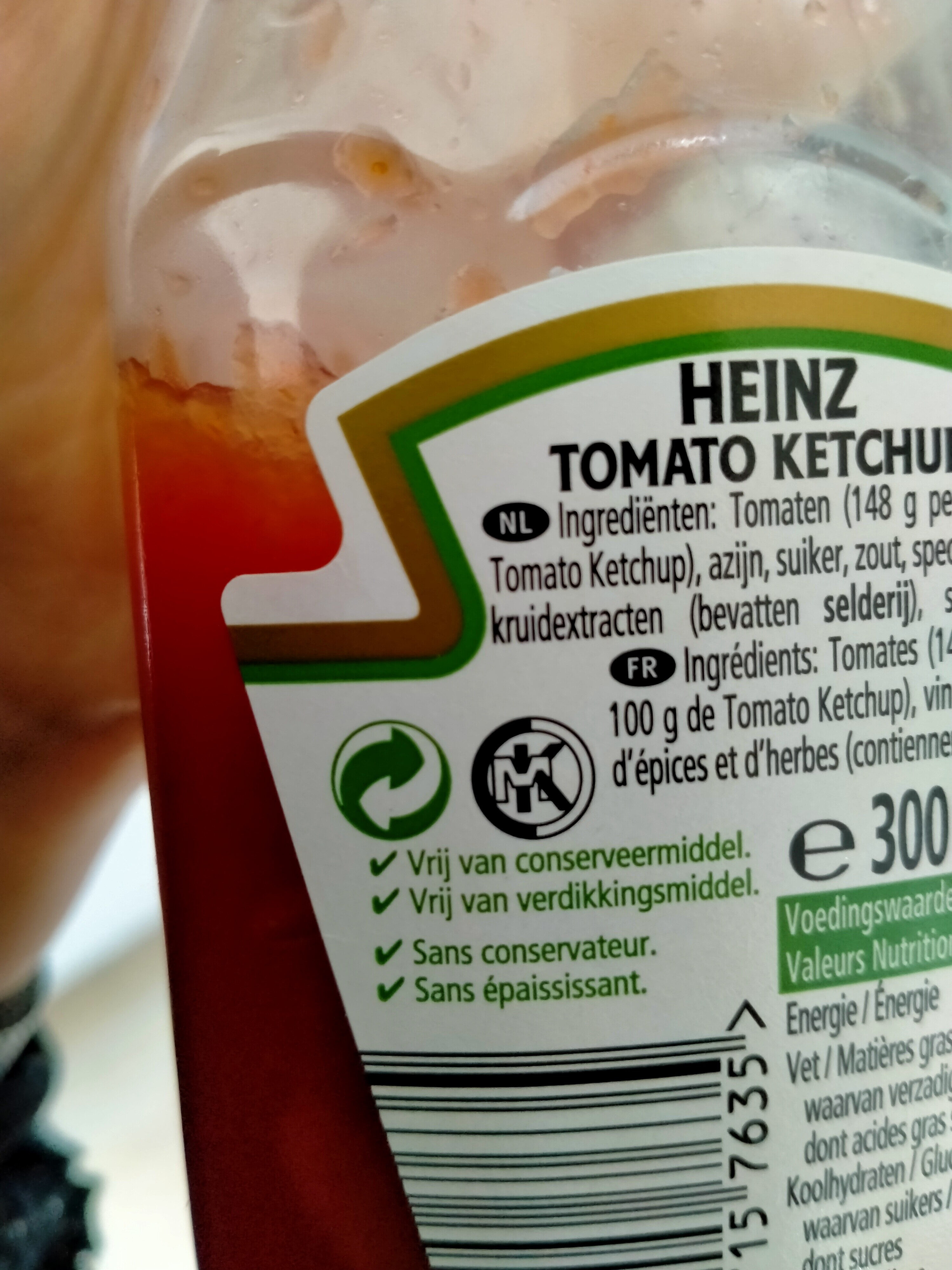 Tomato Ketchup 342 g flacon top up - Instruction de recyclage et/ou informations d'emballage - fr