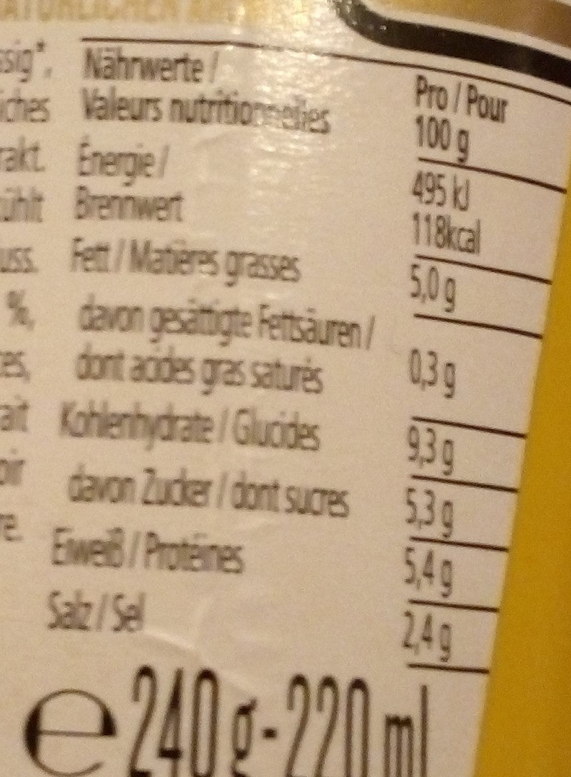 HEINZ Senf American Mustard Mild, 220 ML - Valori nutrizionali - fr