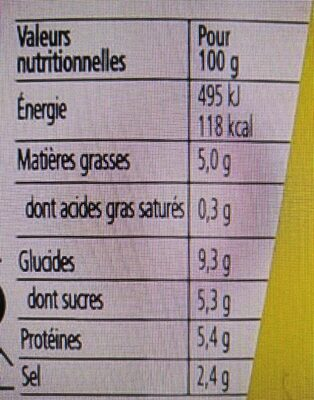 Heinz yellow mustard classic - Nutrition facts - fr
